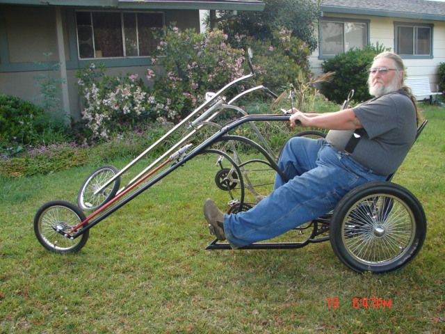 AtomicZombie Bikes, Recumbents, Trikes, Choppers, Ebikes, Velomobiles, and the Great Outdoors: Homemade chopper trikes - Atomic Zombie builders gallery