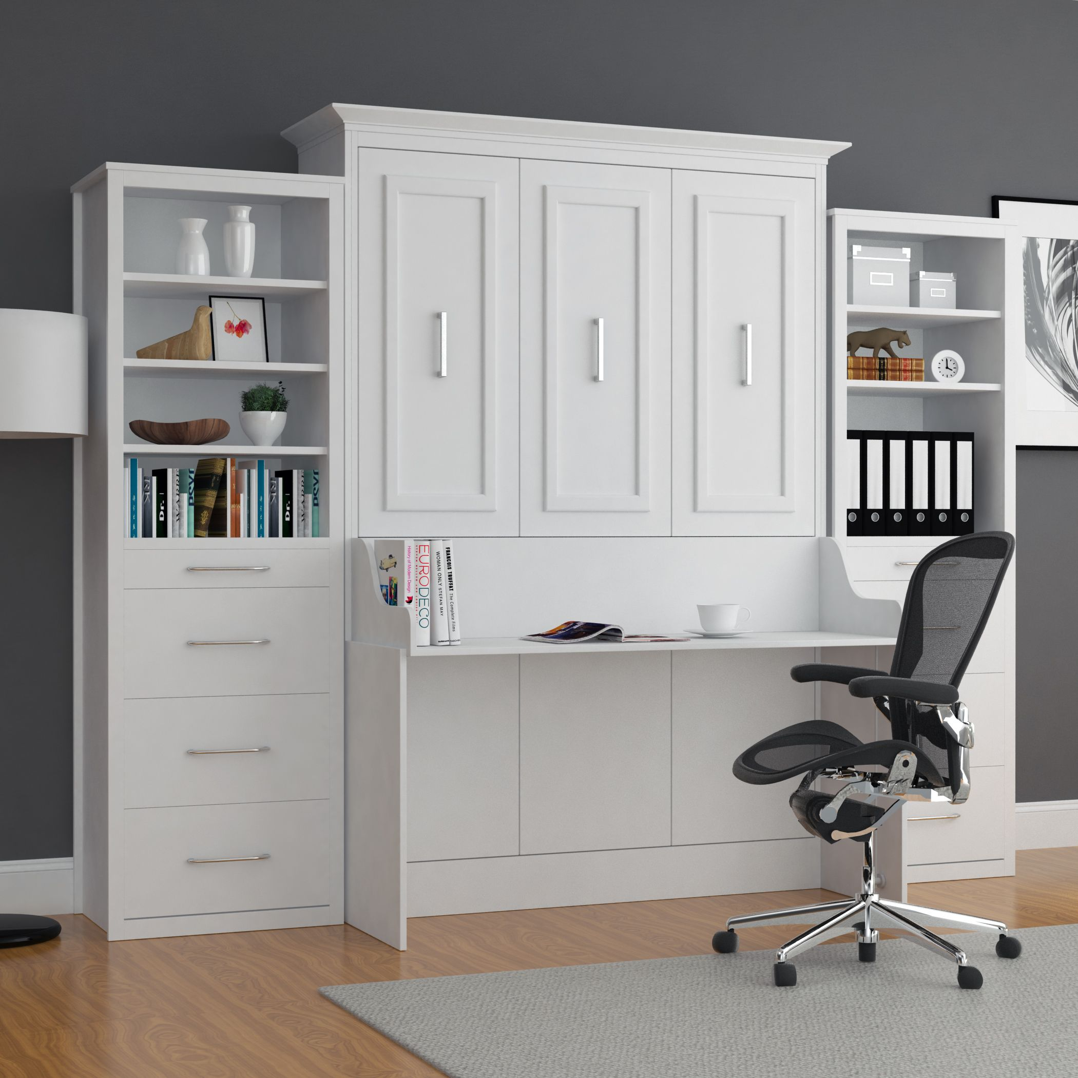 Alegra Full Wall Bed With Desk And Double Towers Murphy Bed Desk