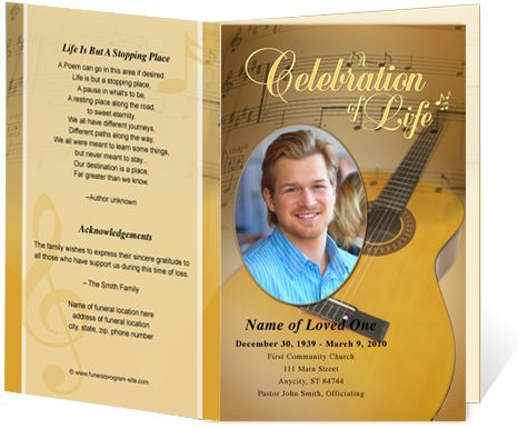 Funeral Bulletins Template Guitar Single Fold Musical Theme   Free  Printable Obituary Program Template  Free Obituary Program Template