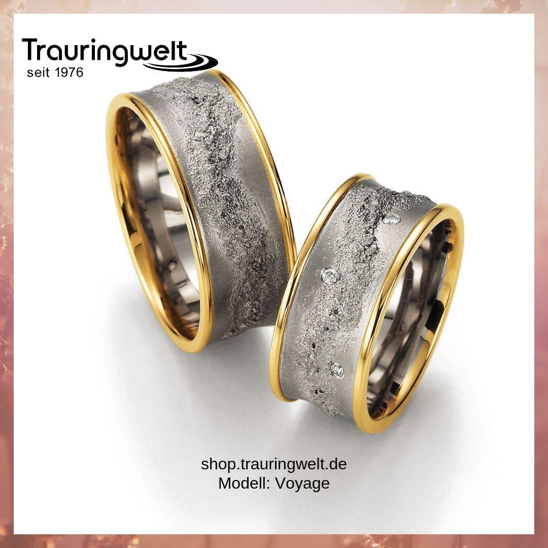 Ausgefallene Trauringe Eheringe Aus 585 Gold Mit Diamantbesatz Trauringe Ring Verlobung Männer Ringe