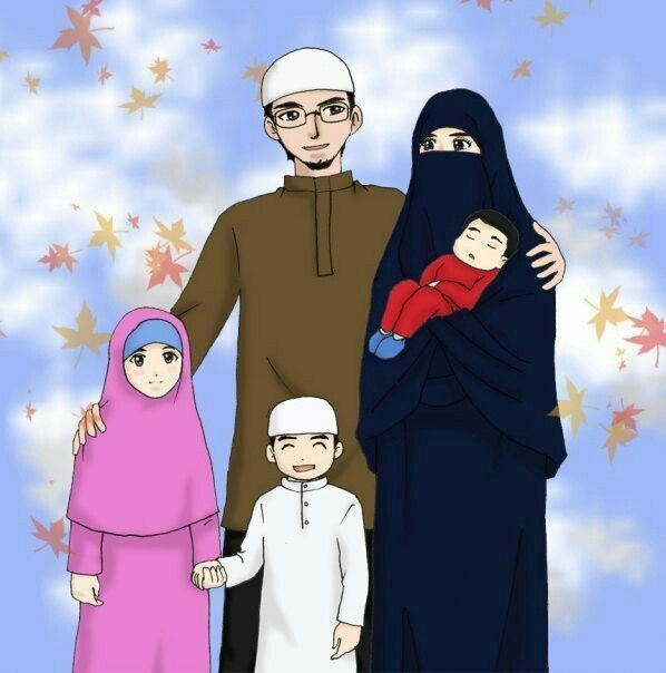 Family Islam Islamic Cartoon Anime Muslim Muslim Family