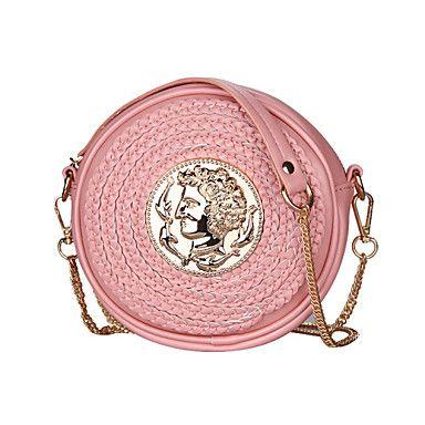 Bolsa de Ombro - Feminino Branco / Rosa / Preto - PU – BRL R$ 106,64
