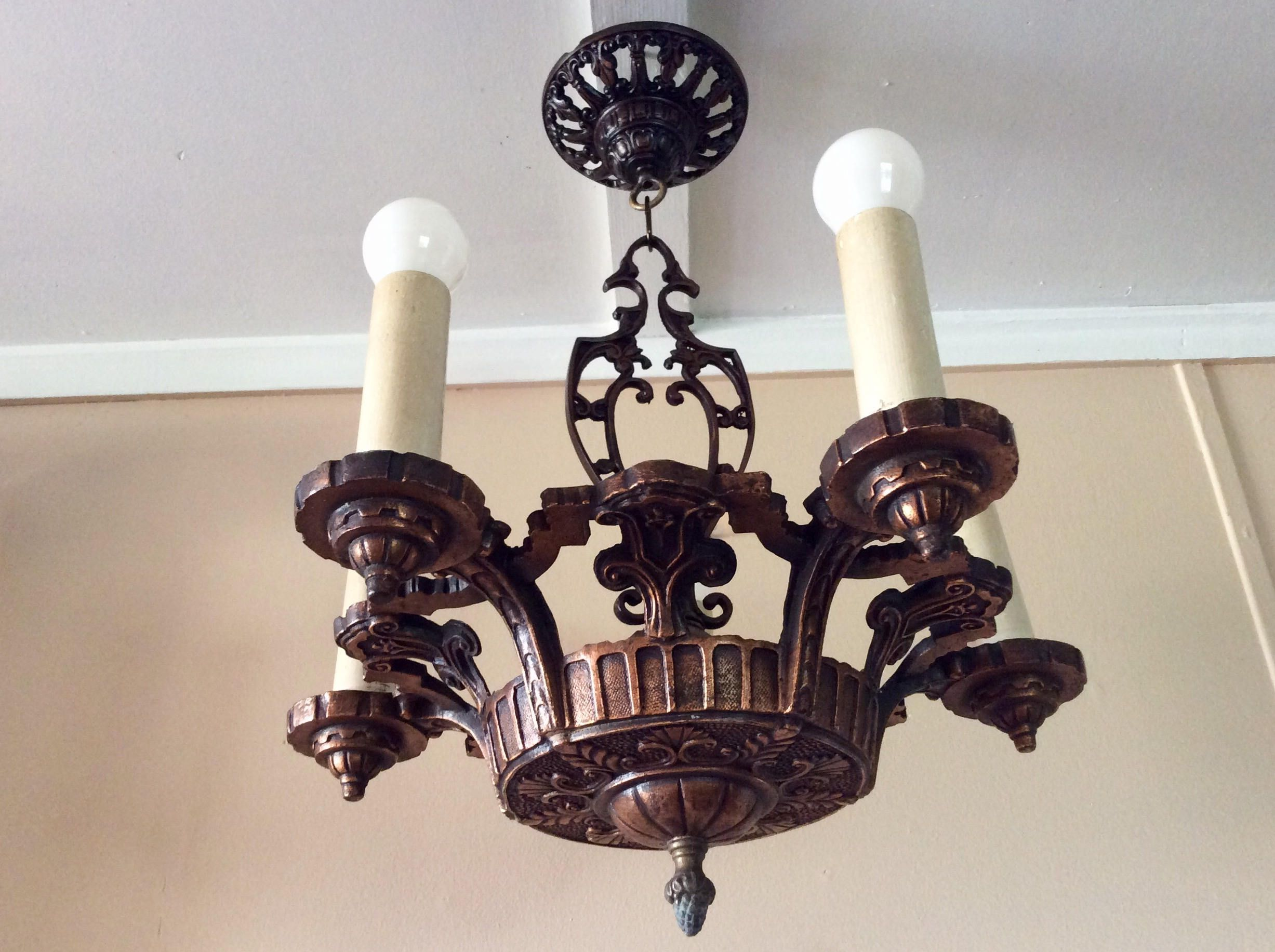Antique Art Deco Chandelier Antique Copper 5 Candle Light Covers