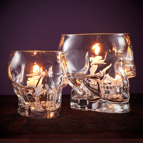 Halloween - Glass Skull Votives from the Obaz - I want these.