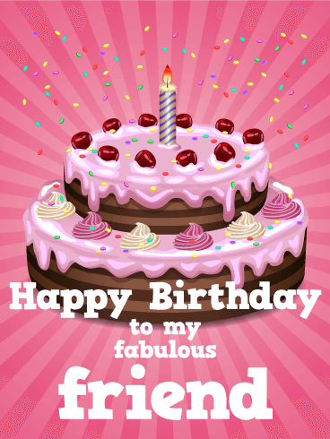 Pink Birthday Cake Card For Friends A Sweet Friend Like Yours