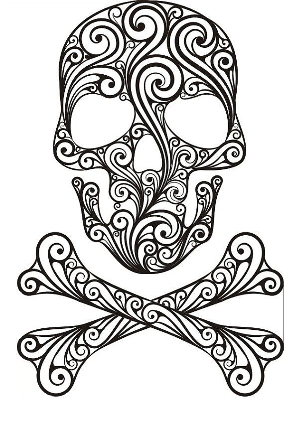 Sugar Skull Coloring Page Black Lines Skull Coloring Pages