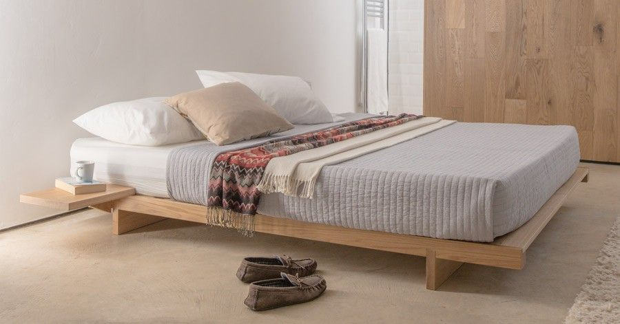 Low Fuji Attic Platform Bed No Headboard Low Bed Frame Wooden