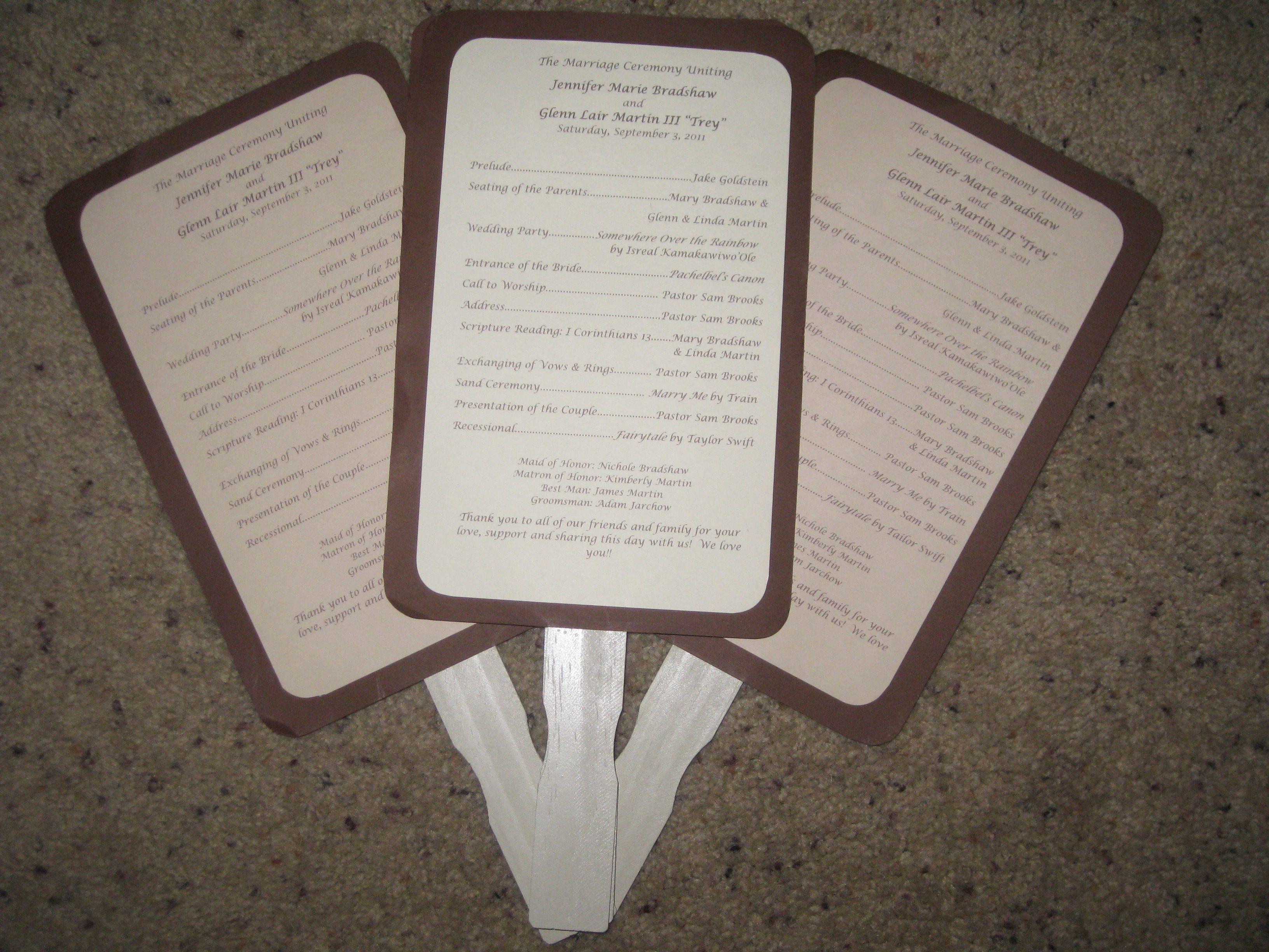 Wedding programs/fans