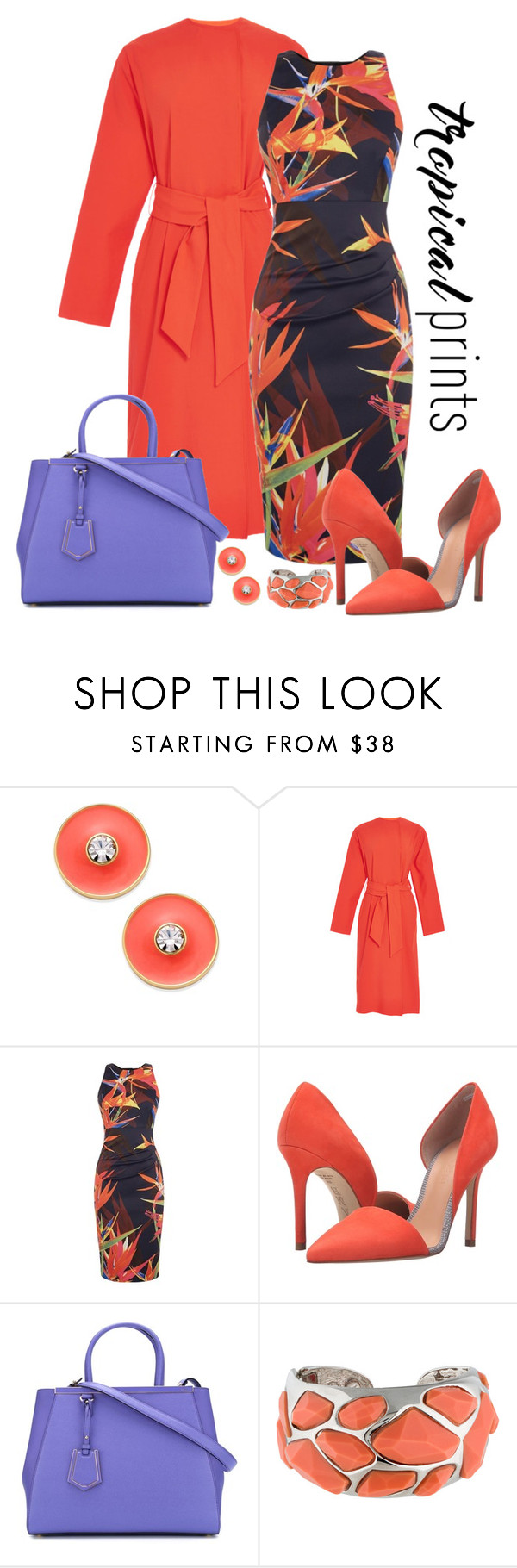 """""""Karen Millen Silhouette Floral Dress Look"""" by romaboots-1 ❤ liked on Polyvore featuring Kate Spade, Cédric Charlier, Karen Millen, L.A.M.B., Fendi and Kenneth Jay Lane"""