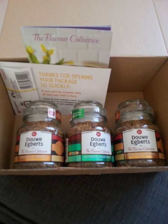 My kit that i received free from BzzAgent. Hazelnut and caramel Coffee, Money off coupons and recipe cards.#GotItFree from BzzAgent.co.uk