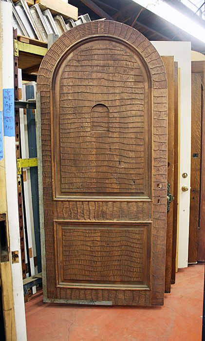 Arched Entry Door; Hand Carved W/speakeasy