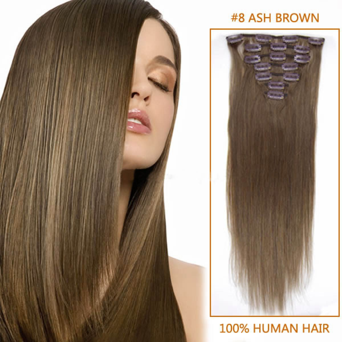 22 inch straight clip in remy hair extensions 8 light brown 10 32 inch long straight clip in real human hair extensions ash brown nice looking 11 pieces larger sets pmusecretfo Choice Image
