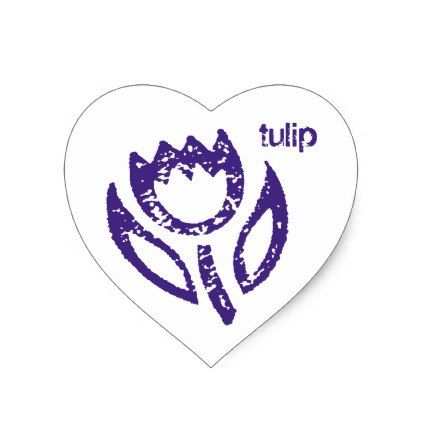Deep Blue Tulip Heart Heart Sticker - blue gifts style giftidea diy cyo