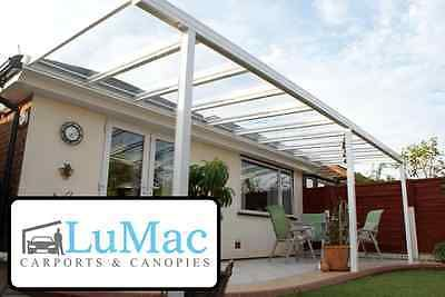 Glass Clear Carport Patio Canopy Cover Lean To Awning Garden Pergola Seating Teras