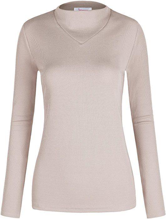 Slim Fit Shirts For Women Misswor Ladies Top Mock Turtle Neck Long
