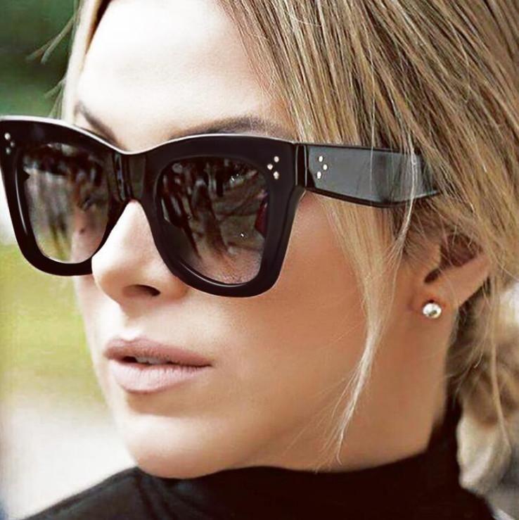 Mode Rivet Cat Eye lunettes de soleil Femmes Dames De Luxe Marque Design  Lunettes de Soleil Pour Femme 22da3c479365