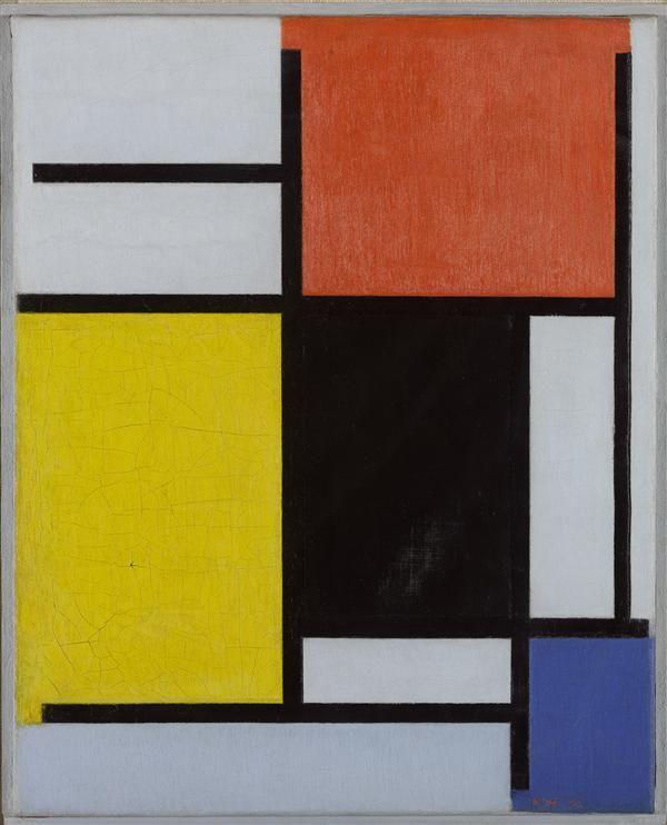 piet mondriaan [1872-1944] compositie met rood, geel, zwart, blauw
