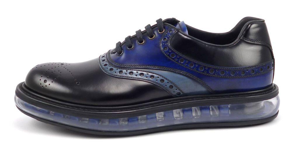 Prada New Men's Shoes 5, 6 US Levitate Leather Lace Up Oxfords Black / Blue