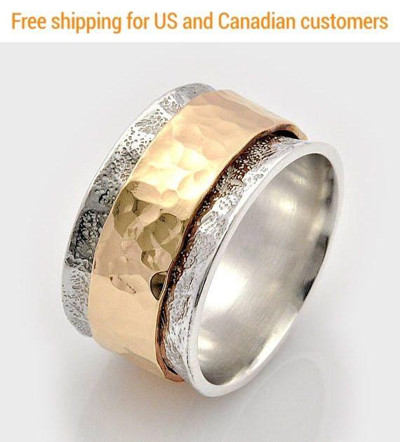 Spinning wedding Swivel Gold ring Israeli rings Prayer ring