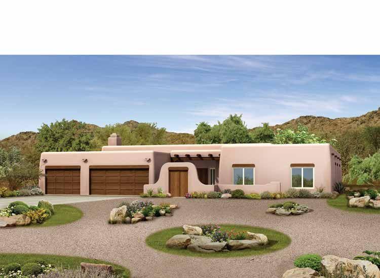 Adobe Southwestern Style House Plan 4 Beds 3 Baths 2945 Sq Ft