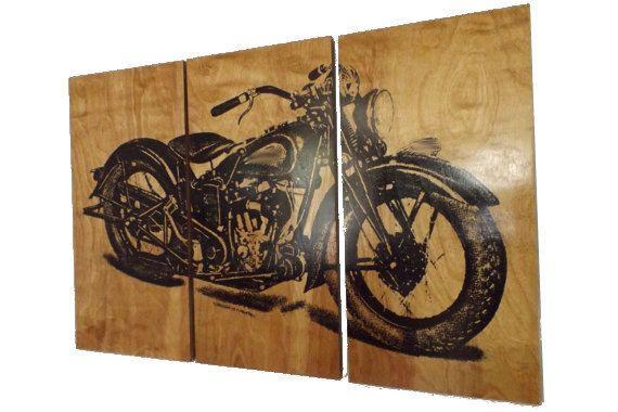 Xl Vintage Motorcycle Screen Print Wood Painting Wall Art Motorcycle Wall Art Handmade Wall Art Wall Painting