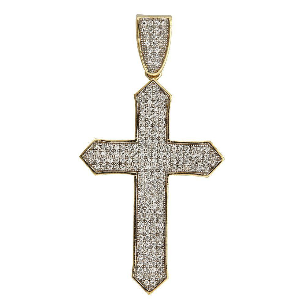 14k Gold Pave Cross Pendant, Women's