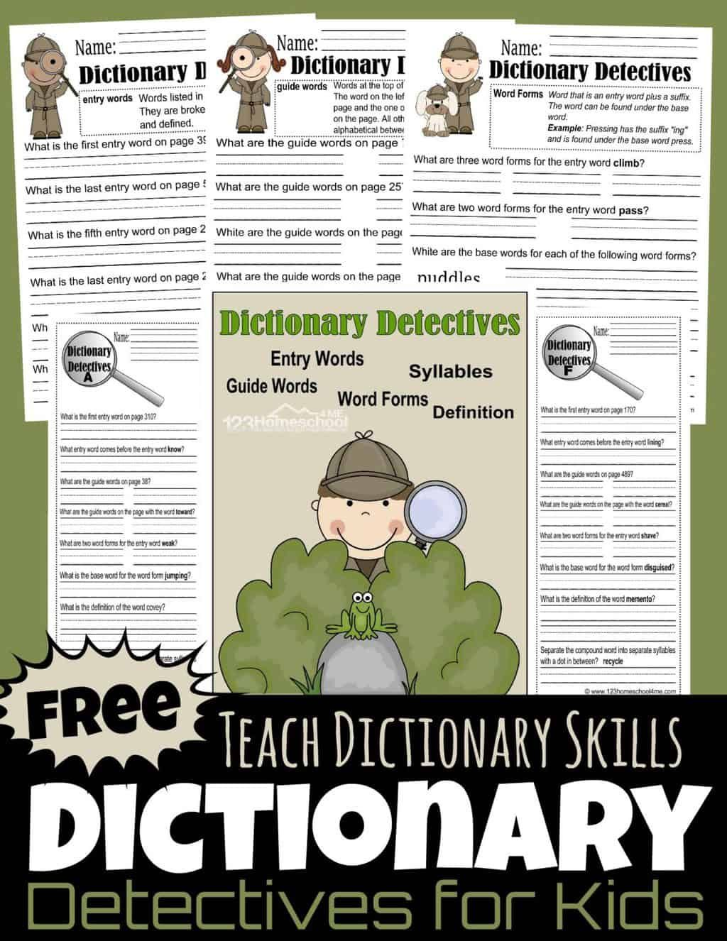 FREE Dictionary Detective Worksheets for Kids   Dictionary skills [ 1326 x 1024 Pixel ]