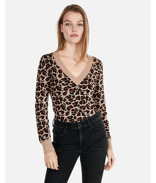 dbb3399c2ac1 Leopard Print Fitted V-Neck Sweater Leopard Women's XXS   Products ...