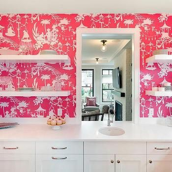 White Kitchen With Pink Thibaut South Seas Wallpaper Lined With Floating Shelves Pink Kitchen Walls Kitchen Feature Wall Pink Kitchen