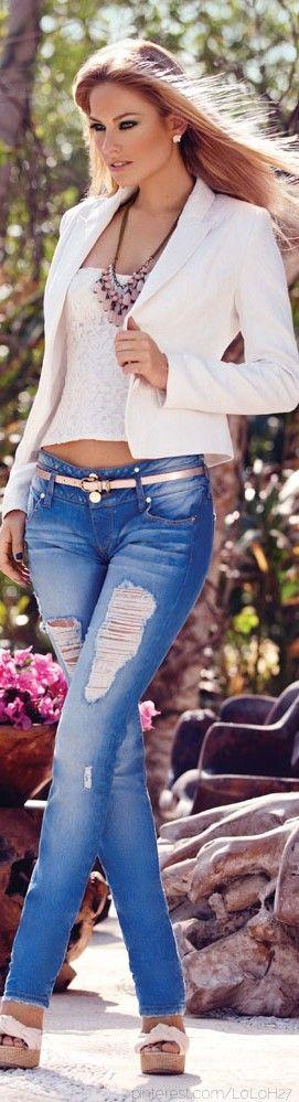 Conjunto ¡me Éste Jeans Encanta Y Plataformas Blanca Chaqueta Blue zqXw8X