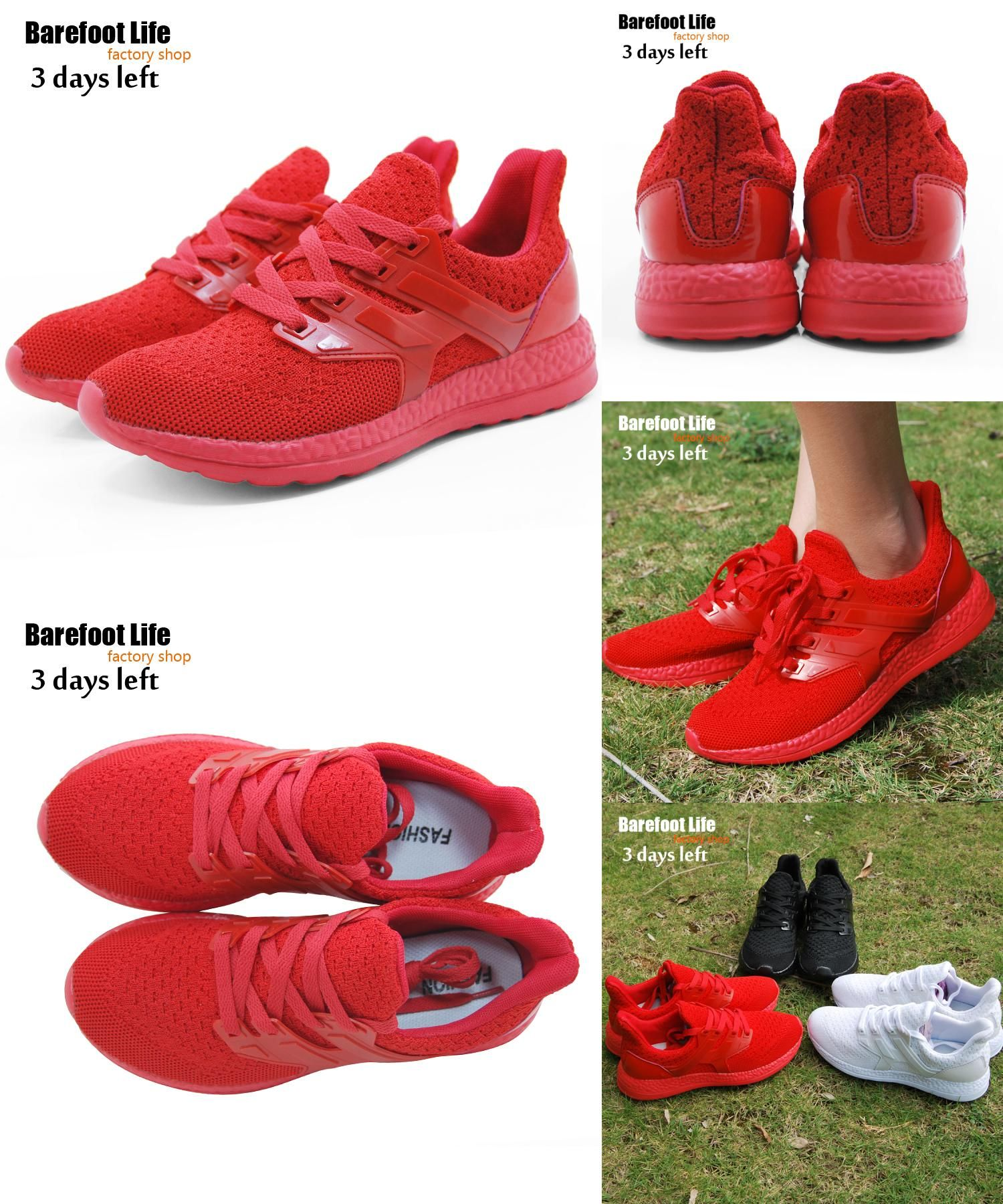 new red color sport running shoes woman