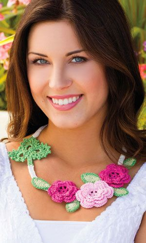 Roses and Shamrock Necklace by Jennifer E Ryan - Crochet World - Feb. 2015 issue - Uses traditional Irish Crochet motifs in a new way to wear for St. Patrick's Day