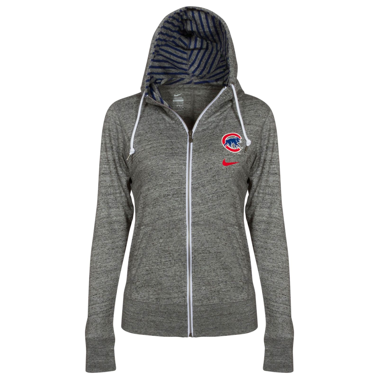 buy online 61744 7a369 Chicago Cubs Women's Dark Heather Grey Crawl Bear Full-Zip ...