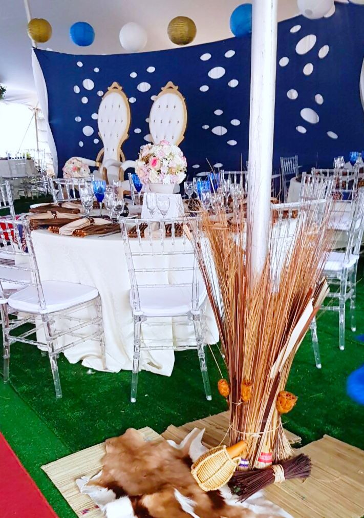 African Traditional Blue Cream Amp Gold Wedding Decor By Shonga Events