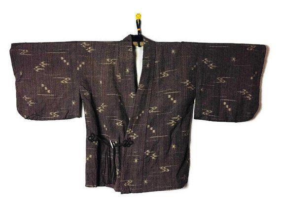 7ba657e2956 Vintage Japanese Kimono Dochugi Haori Jacket - Haori Kimono Short Kimono  Cardigan - brown kimono jac