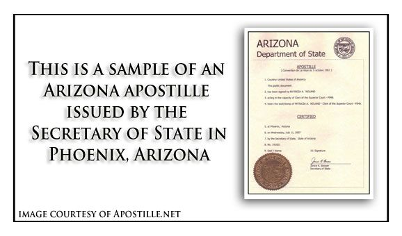 State of Arizona Sample Apostille issued in Phoenix Should you - sample marriage certificate