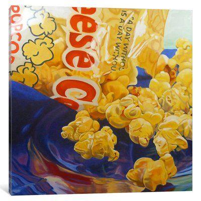 "East Urban Home 'Popcorn Man' Graphic Art Print on Canvas Size: 12"" H x 12"" W x 0.75"" D"