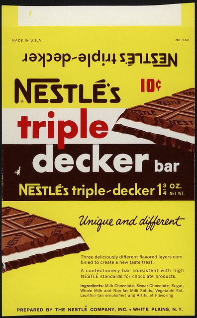 Nestle S Triple Decker 10 Cent Candy Bar Wrapper Proof 1960 S Candy Bar Wrappers Candy Drinks Vintage Candy