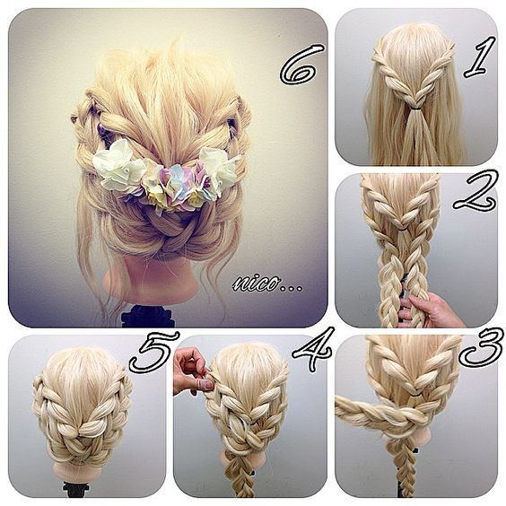 The flower wedding hair styles for platinum blonde color