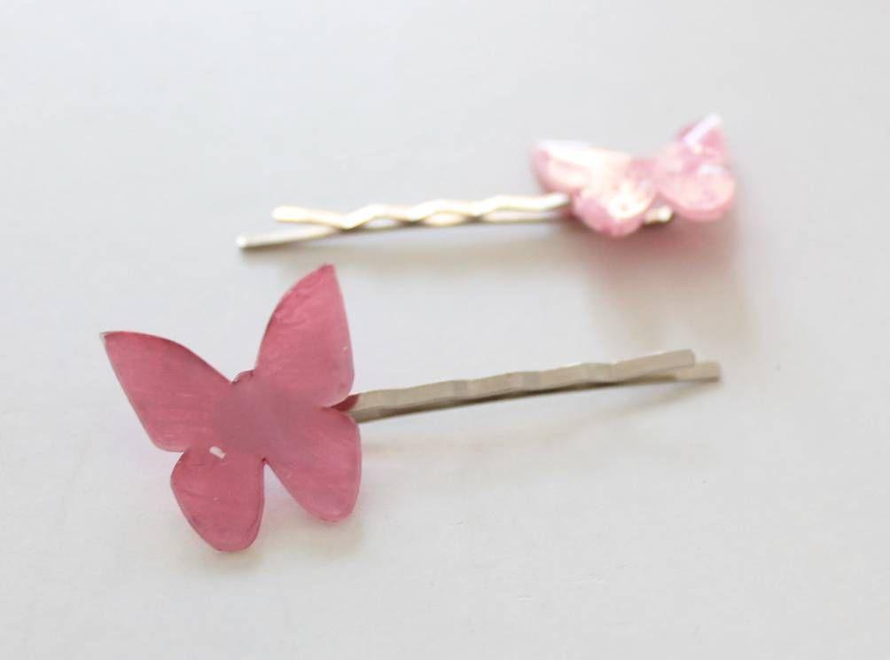 horquillas de mariposas. Plástico encogible. Buterfly hair clip. Shrink plastic.