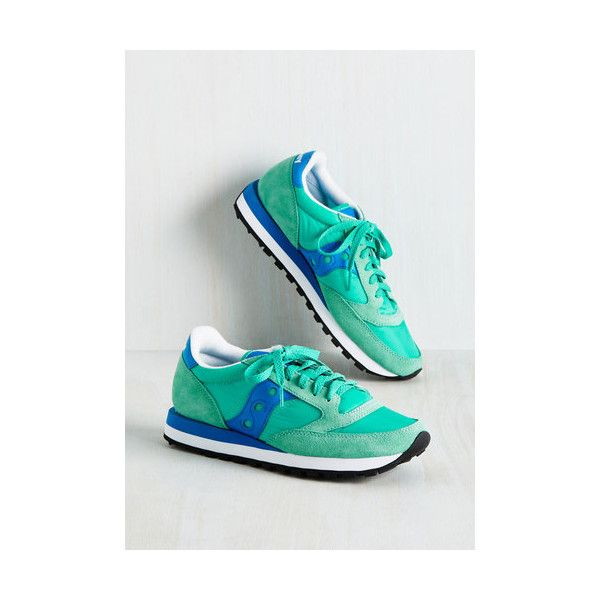 Saucony Colorblocking My Run and Only Sneaker ($60) ❤ liked on Polyvore featuring shoes, sneakers, flat, green, sporty, breathable shoes, green shoes, green flat shoes, colorblock shoes and green sneakers