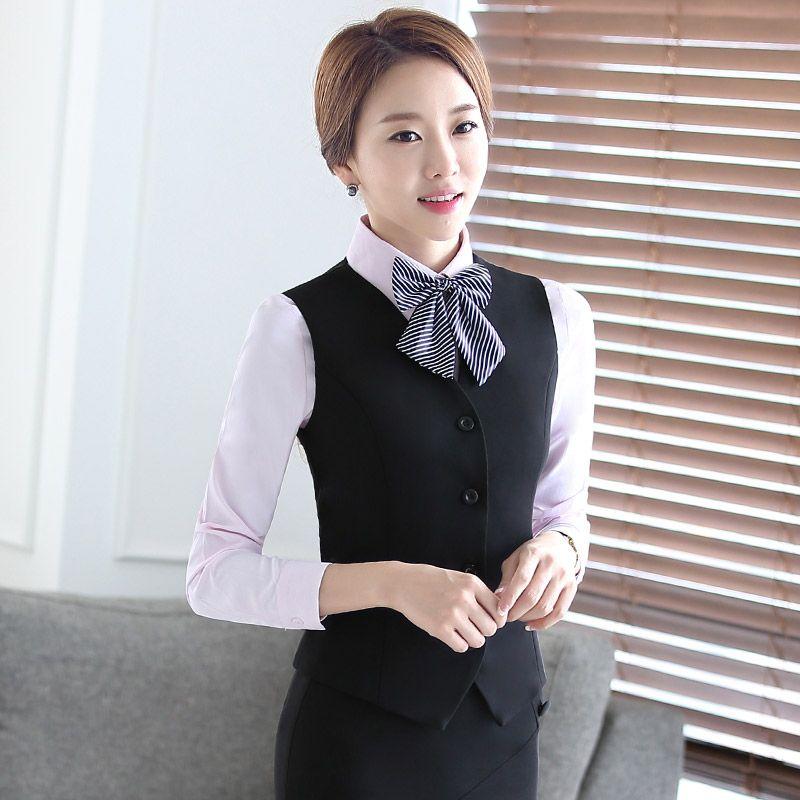 ... mujeres trajes de falda chaleco banco de herramientas uniformes  uniformes de la azafata de recepción del hotel en Trajes de falda de Ropa y  Accesorios ... 615f6d14b108