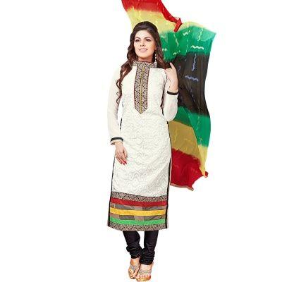 Voguish White & Black Coloured Embroidered  Salwar Kameez Comes With Black…