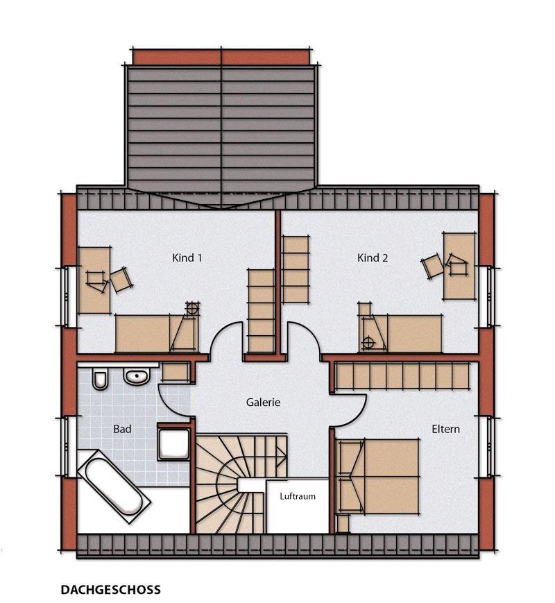 Dachgeschoss Satteldach, Einfamilienhaus Haus, Grundriss