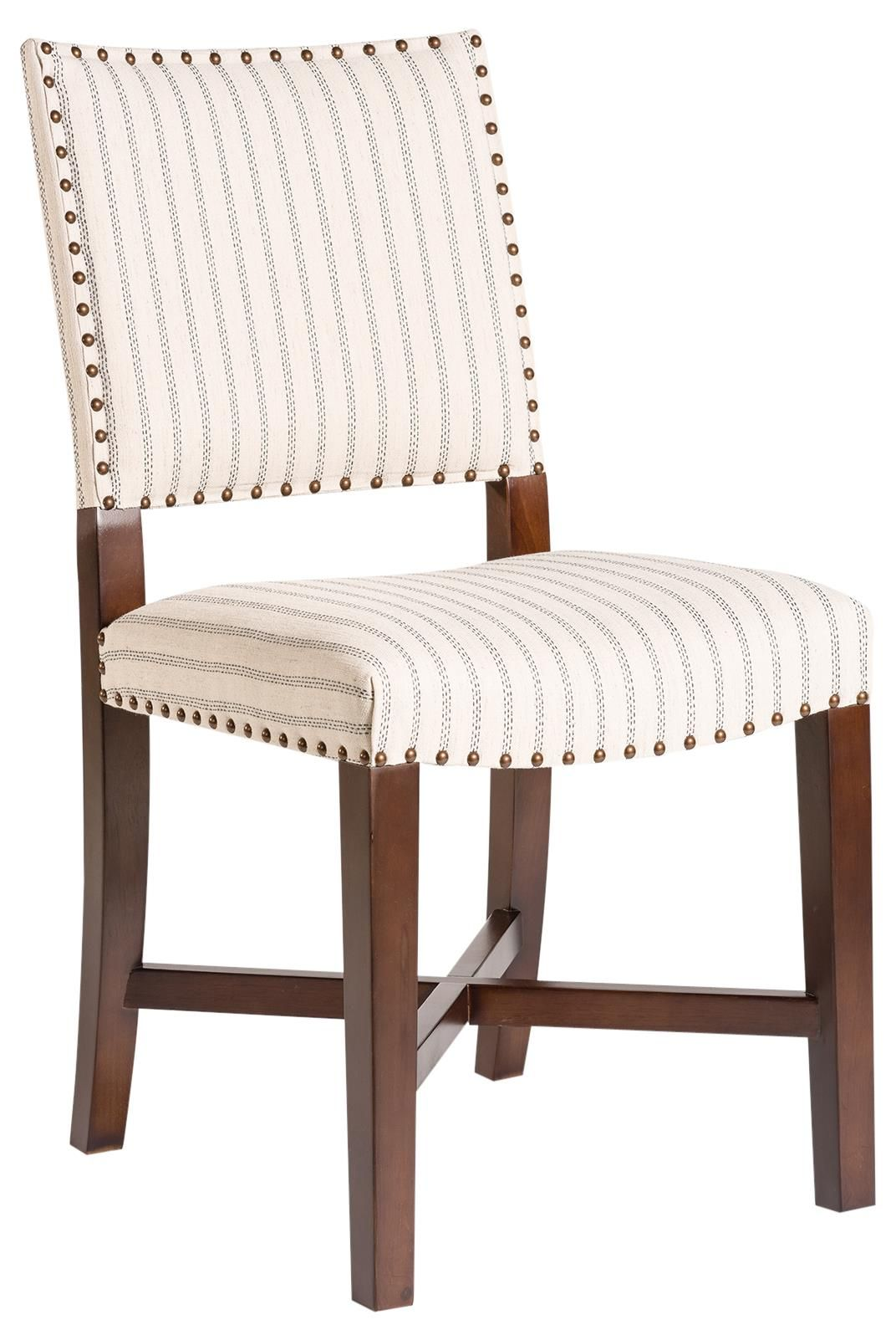 Dining Chair La Jolla Pair Denim Stitch Stripe Upholstery Birch