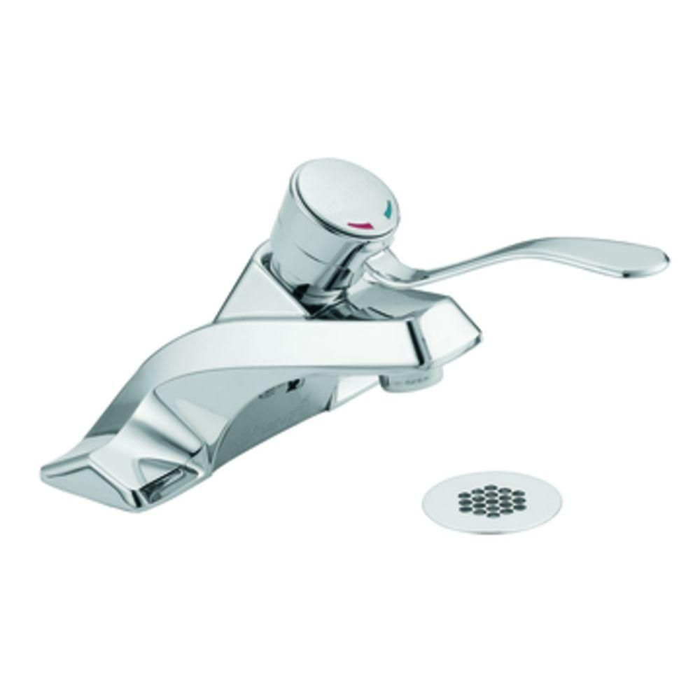 MOEN M-Bition 4 in. Centerset 1-Handle Bathroom Faucet in Chrome (Grey)