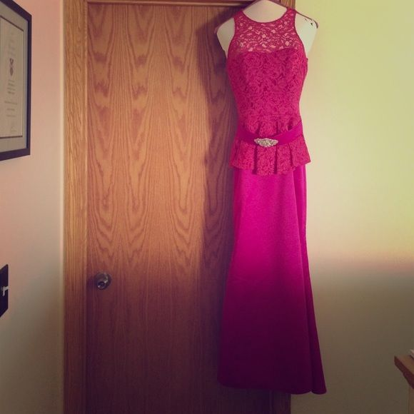Jordan collections formal bridesmaid gown Gorgeous fuschia gown purchased in Europe 2015 and only worn once. Bateau neckline, empire waistline, floor length, sleeveless, lace detail. Size 0. Jordan Dresses