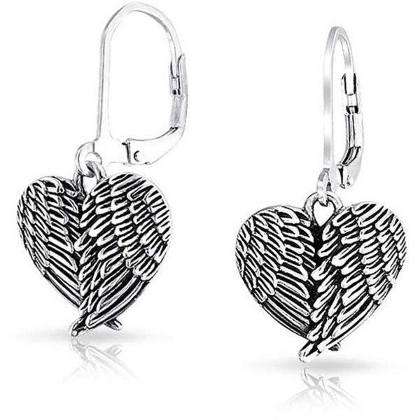 Bling Jewelry Angel Wings CZ Sterling Silver Dangle French Wire Earrings KrIOfBuLR