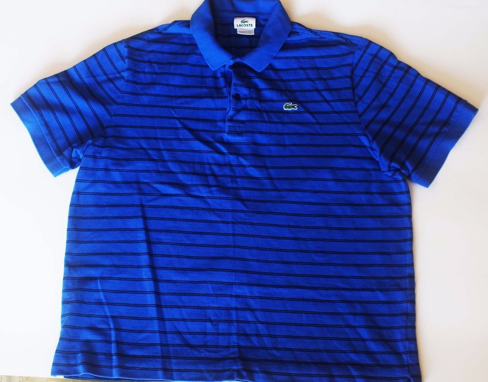 Lacoste Mens Size 7 (Small) Polo Short Sleeve Blue Striped Shirt RN 87651  #Lacoste #PoloRugby