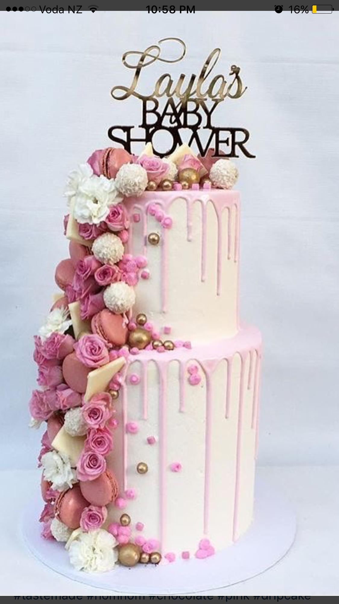 Girl Baby Shower Drip Cake